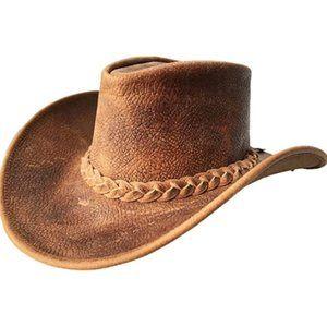 Mens Vintage Brown Wide Brim Cowboy